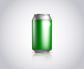 Green metal can. Vector illustration of cold drink can isolated