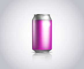 Pink metal can. Vector illustration of cold drink can isolated