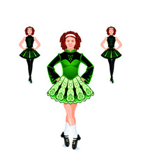 Cheerful and beautiful female Irish dancers