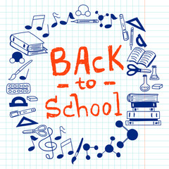 'Back To School' lettering and hand drawn elements