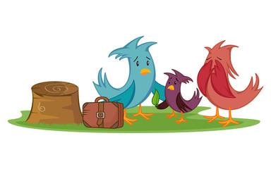 Deforestation awareness, sad bird family