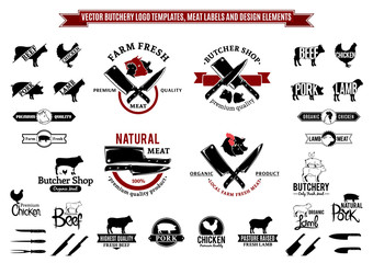 Vector Butchery Logo, Labels, Icons and Design Elements