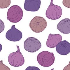 Hand drawn figs seamless pattern