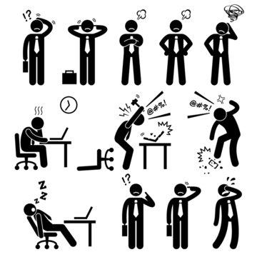 Businessman Business Man Stress Pressure Workplace Cliparts