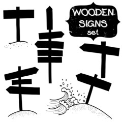 Set of wooden signs silhouettes