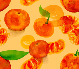 Watercolour drawing of tangerines seamless background pattern