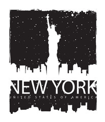 banner with of New York City, Statue of Liberty at night
