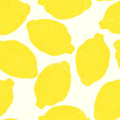 Hand drawn lemon seamless pattern
