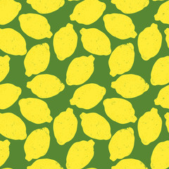 Hand drawn lemons seamless pattern
