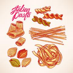 set with hand-drawn pasta