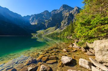Fototapeta Green water mountain lake Morskie Oko, Tatra Mountains, Poland obraz
