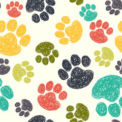 Dog's paw prints seamless pattern.