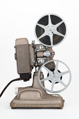 Side view of Vintage 8 mm Movie Projector with Film Reels.