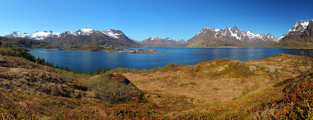Wall Mural - Panoramic view of Lofoten mountain