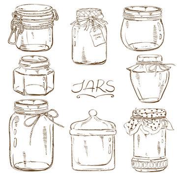 Set of isolated mason jars