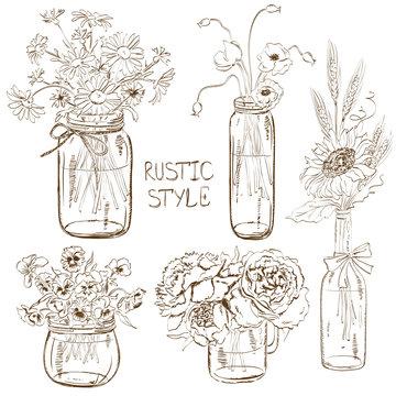 Set of mason jars with flowers