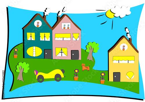 dessin d 39 enfant de maisons avec voiture chat et fleurs fichier vectoriel libre de droits sur. Black Bedroom Furniture Sets. Home Design Ideas