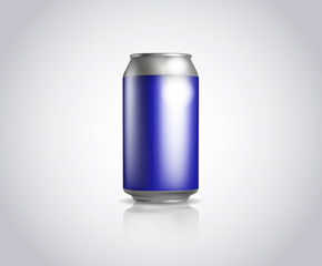 Blue metal can. Vector illustration of cold drink can isolated