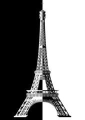 Paris. La Tour Eiffel en noir et blanc