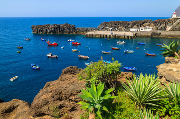 View of Camara de Lobos fishing village and port, Madeira island