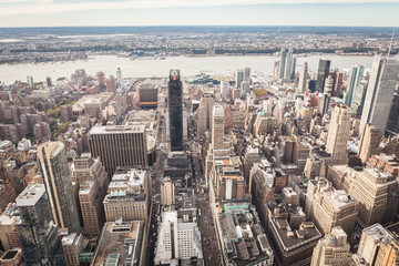 Aerial View of Downtown Manhattan New York City