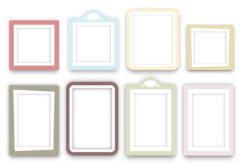 Multiple colored frames on white background