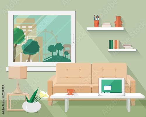 Flat Modern Design Vector Illustration Of Living Room