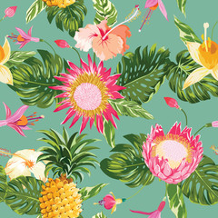 Tropical Flowers Background - Vintage Seamless Pattern