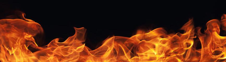 Deurstickers Vuur burning fire flame on black background