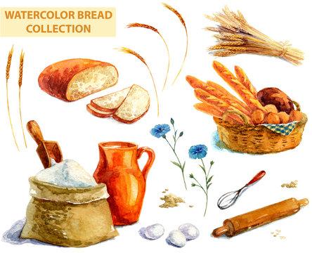 Watercolor bread collection