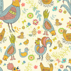 Chicken and rooster cartoon seamless pattern
