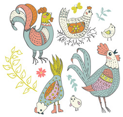Chicken and rooster cartoon