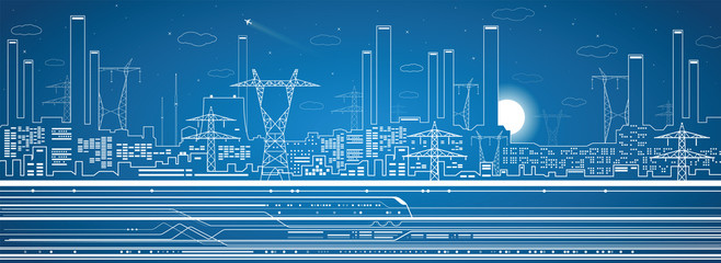 Vector power plant, train, transport panorama, infrastructure
