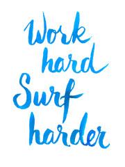 Handwritten blue watercolor calligrapical summer poster