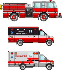 Fire truck and ambulance cars isolated on white background in