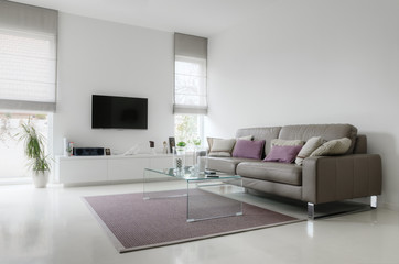 White living room with taupe leather sofa