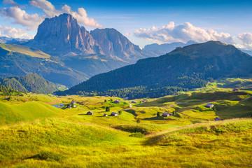 Sunny summer morning on the Sassolungo (Langkofel) group, valley