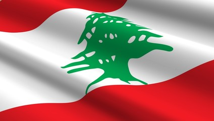 Lebanon flag background. Computer generated 3D photo rendering.