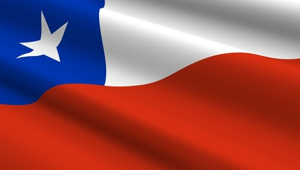 Chile flag background. Computer generated 3D photo rendering.