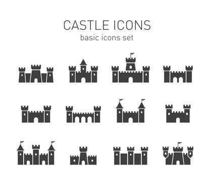Castle icons set.