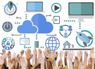 Big Data Sharing Online Global Communication Volunteer Concept