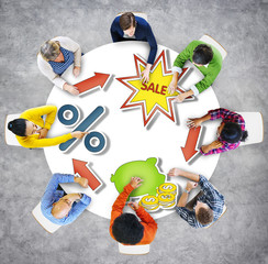 Aerial View Business People Saving Commercial Sales Concept