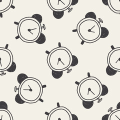 clock doodle drawing seamless pattern background
