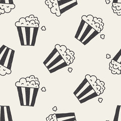 popcorn doodle drawing seamless pattern background