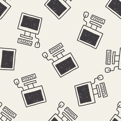 computer doodle drawing seamless pattern background