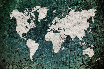 vintage world map with wall background
