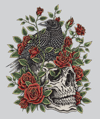 Crow, Roses and Skull Tattoo Design