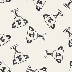 Trophy doodle drawing seamless pattern background