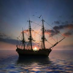 Türaufkleber Schiff Sailboat against beautiful sunset landscape