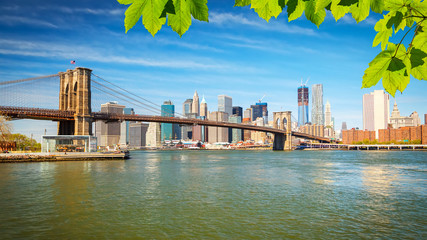 Fototapete - Brooklyn bridge and Manhattan
